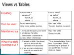 views vs tables