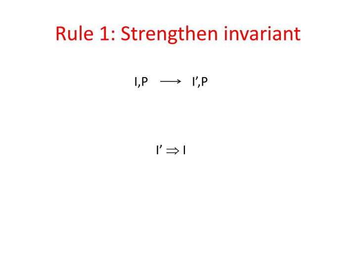Rule 1: Strengthen invariant