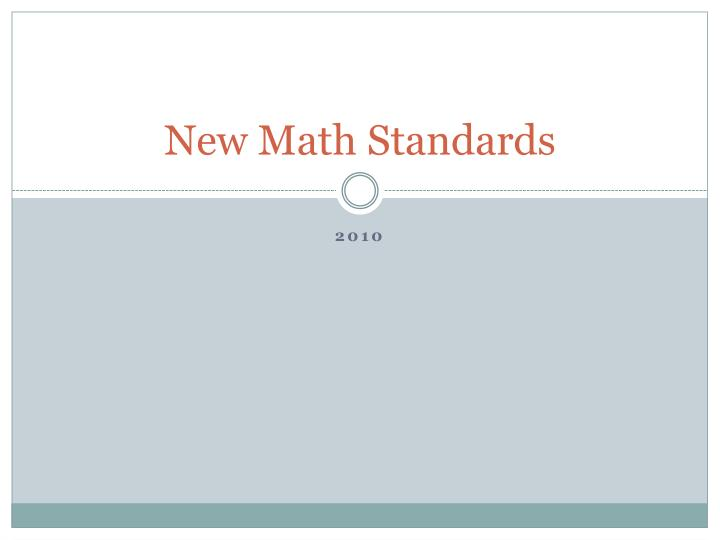 new math standards