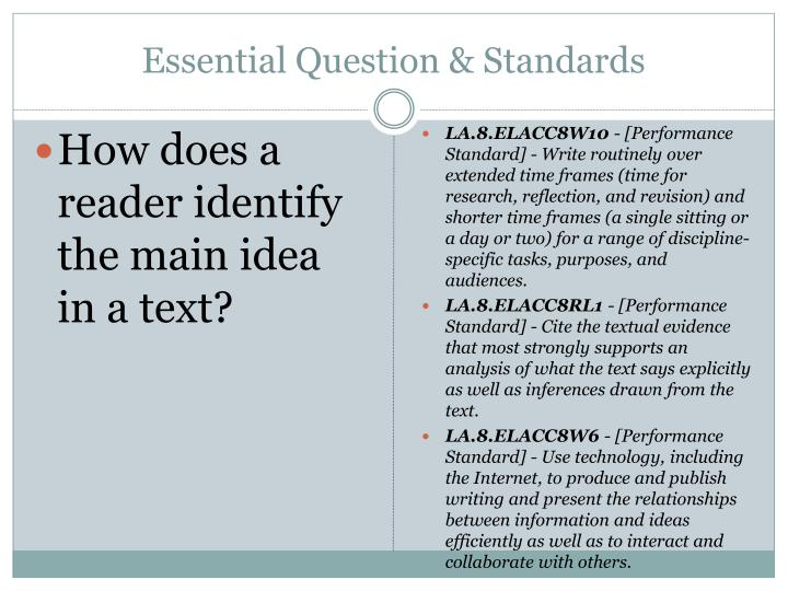 Essential Question & Standards