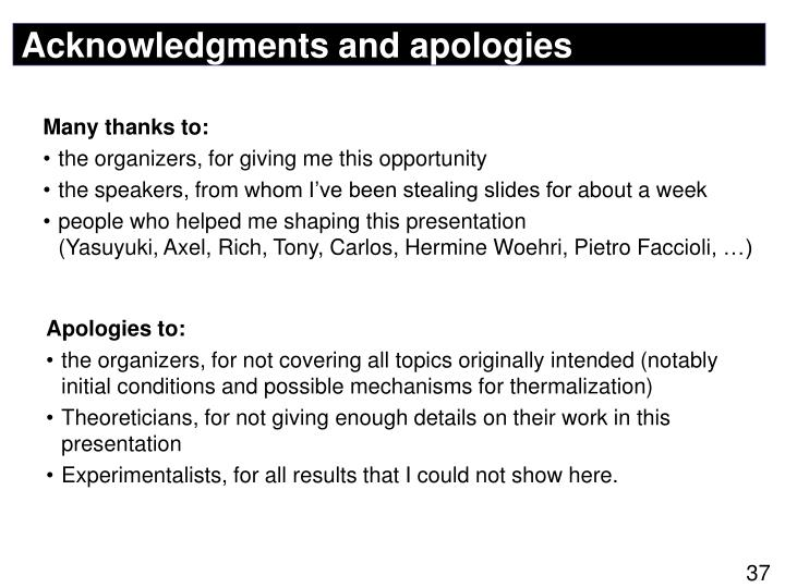 Acknowledgments and apologies
