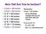 how tall are y ou i n inches