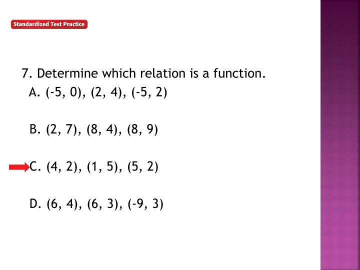 7. Determine which relation is a function.
