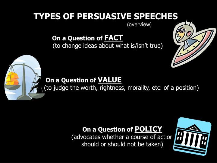 TYPES OF PERSUASIVE SPEECHES
