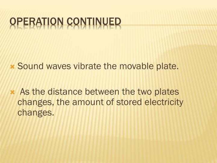 Sound waves vibrate the movable plate.