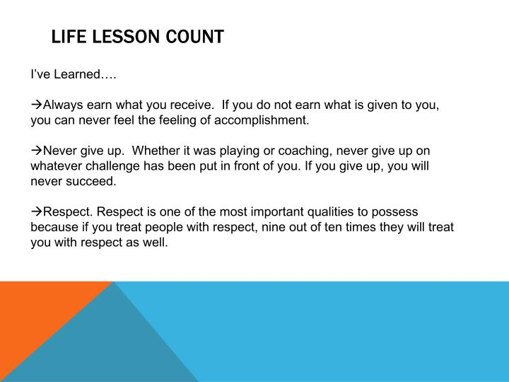 Life lesson count