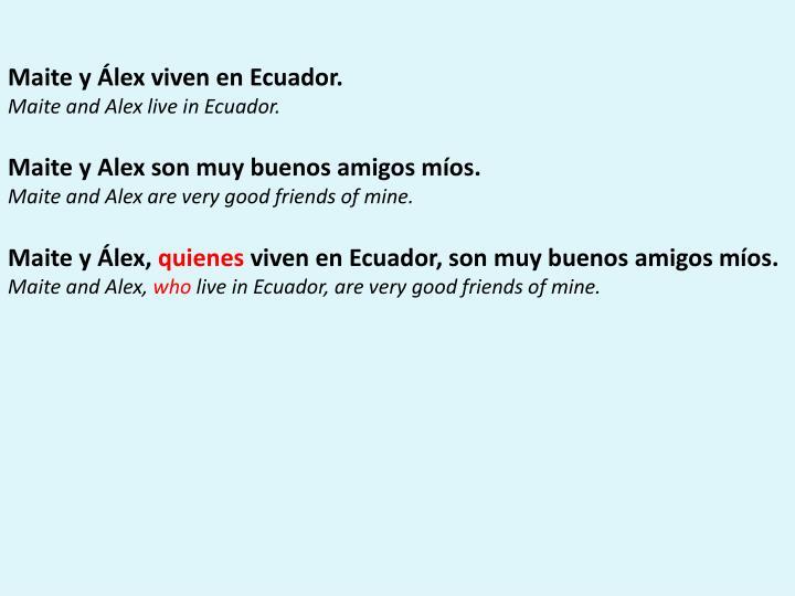Maite y Álex viven en Ecuador.