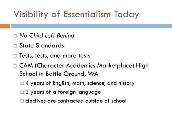 Visibility of Essentialism Today