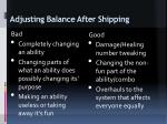 a d justing balance after shipping