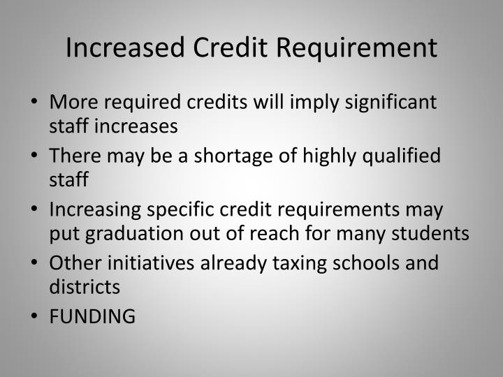 Increased Credit Requirement