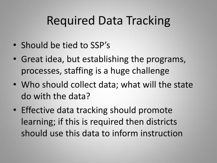 Required Data Tracking