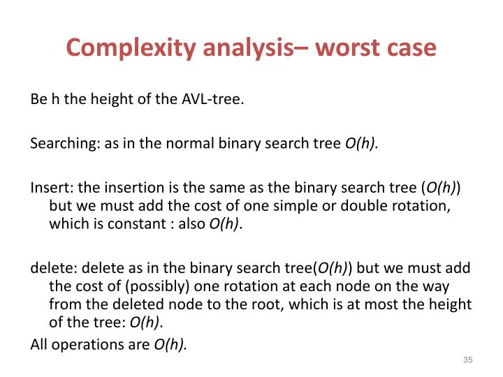 Complexity analysis– worst case