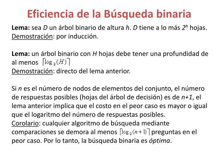 Eficiencia de la Búsqueda binaria