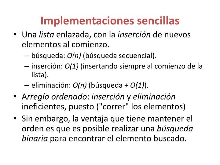 Implementaciones sencillas