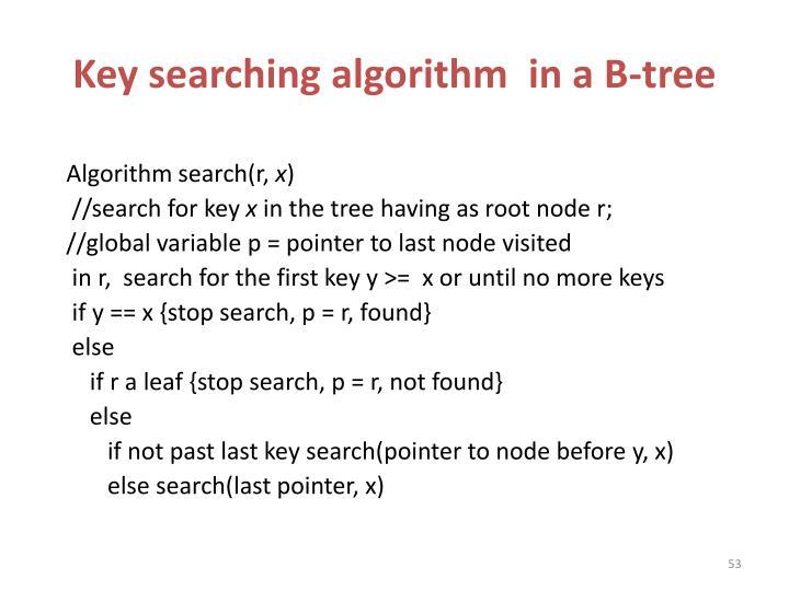 Key searching algorithm  in a B-tree