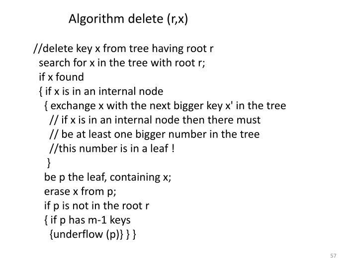 Algorithm delete (r,x)