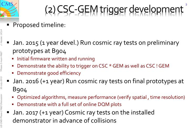 2 csc gem trigger development