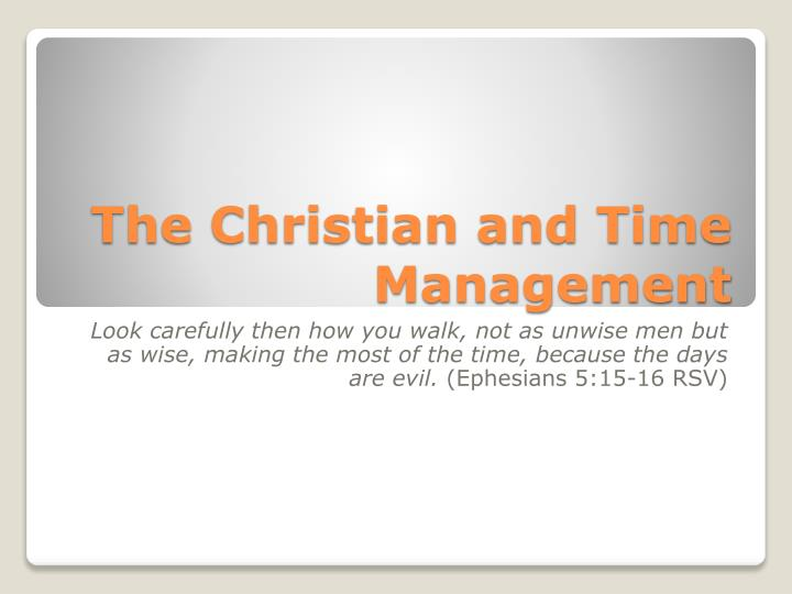 the christian and time management n.