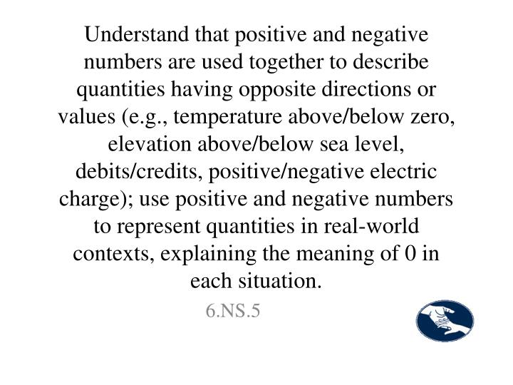 Understand that positive and negative numbers are used together to describe quantities having opposite directions or values (e.g., temperature above/below zero, elevation above/below sea level, debits/credits, positive/negative electric charge); use positive and negative numbers to represent quantities in real-world contexts, explaining the meaning of 0 in each situation.