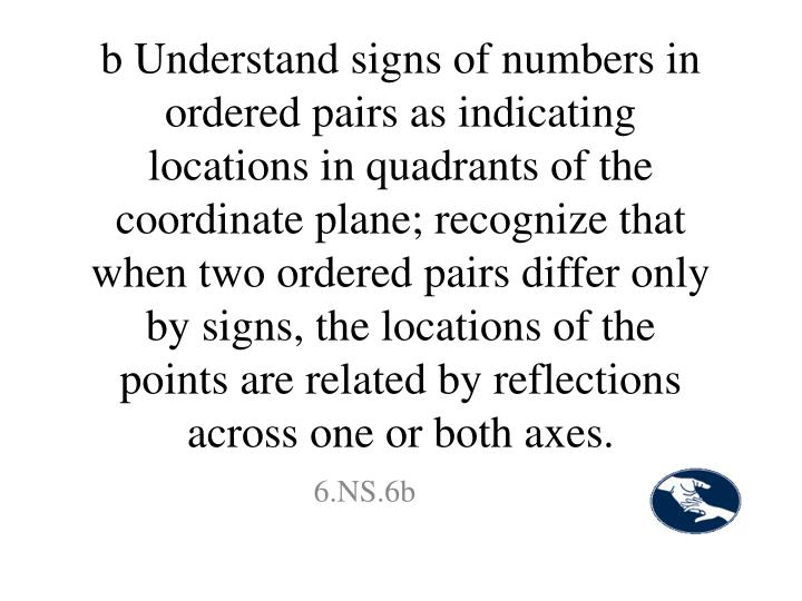 b Understand signs of numbers in ordered pairs as indicating locations in quadrants of the coordinate plane; recognize that when two ordered pairs differ only by signs, the locations of the points are related by reflections across one or both axes.