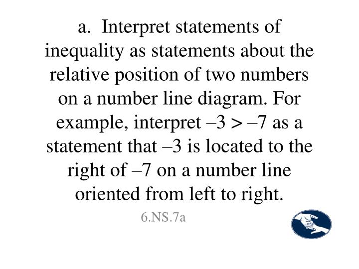 a.  Interpret statements of inequality as statements about the relative position of two numbers on a number line diagram. For example, interpret –3 > –7 as a statement that –3 is located to the right of –7 on a number line oriented from left to right.