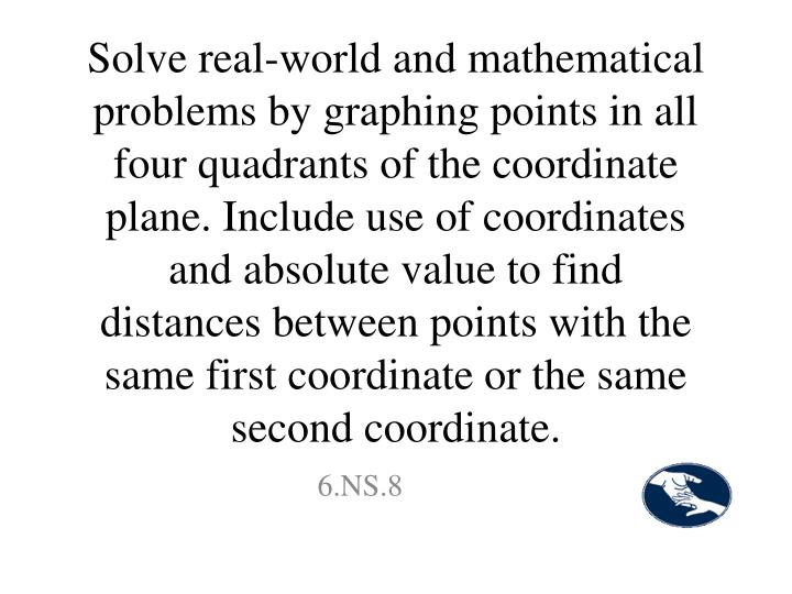 Solve real-world and mathematical problems by graphing points in all four quadrants of the coordinate plane. Include use of coordinates and absolute value to find distances between points with the same first coordinate or the same second coordinate.