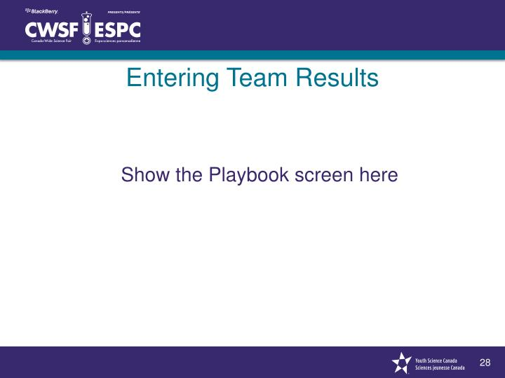 Entering Team Results
