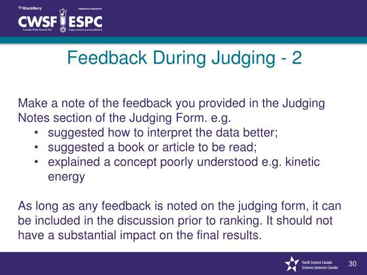Feedback During Judging - 2