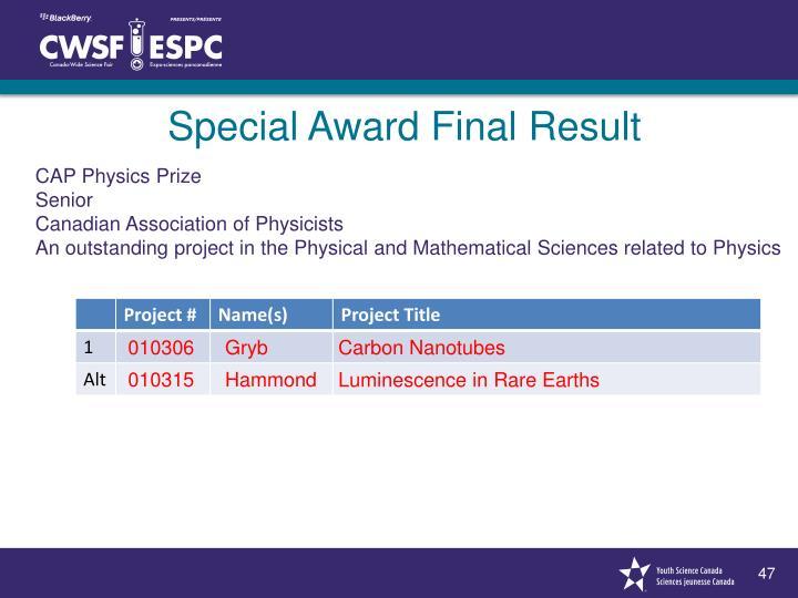 Special Award Final Result