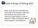 grade 4 range of writing w10