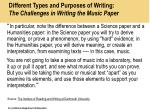 different types and purposes of writing the challenges in writing the music paper