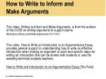 how to write to inform and make arguments
