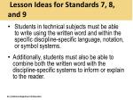 lesson ideas for standards 7 8 and 9