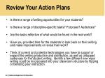 review your action plans