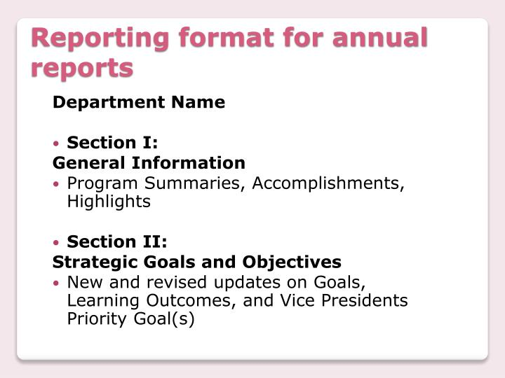 Reporting format for annual reports