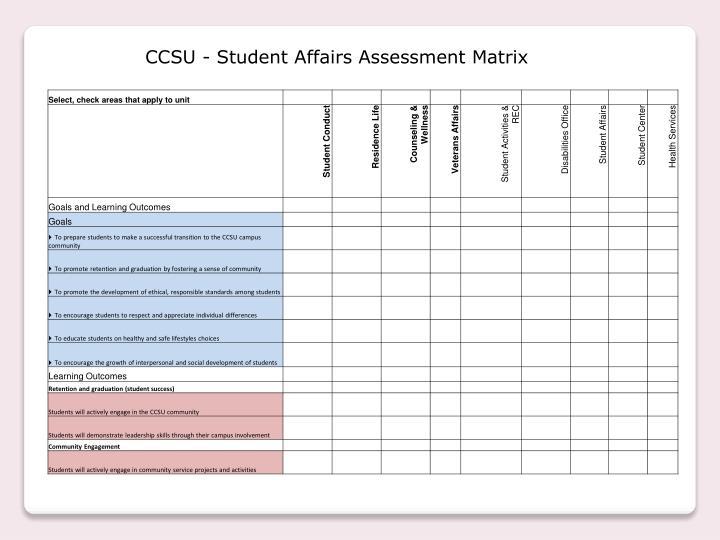 CCSU - Student Affairs Assessment Matrix
