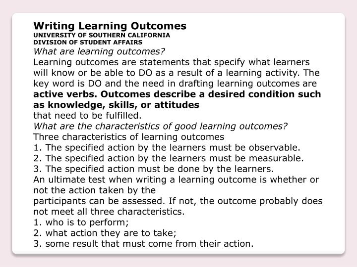 Writing Learning Outcomes