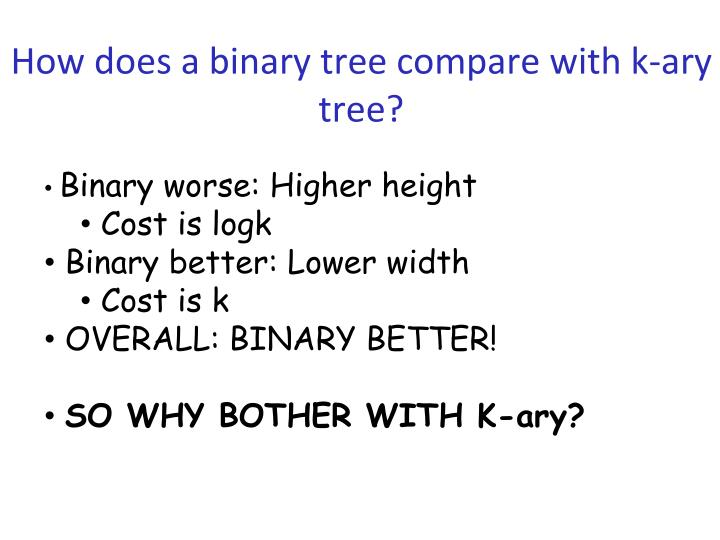 How does a binary tree compare with k-