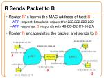 r sends packet to b