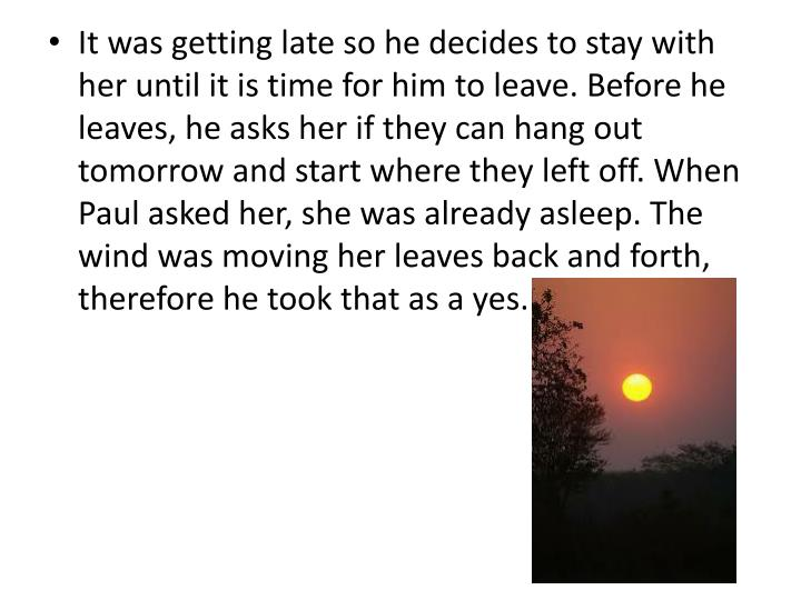 It was getting late so he decides to stay with her until it is time for him to leave. Before he leaves, he asks her if they can hang out tomorrow and start where they left off. When Paul asked her, she was already asleep. The wind was moving her leaves back and forth, therefore he took that as a yes.