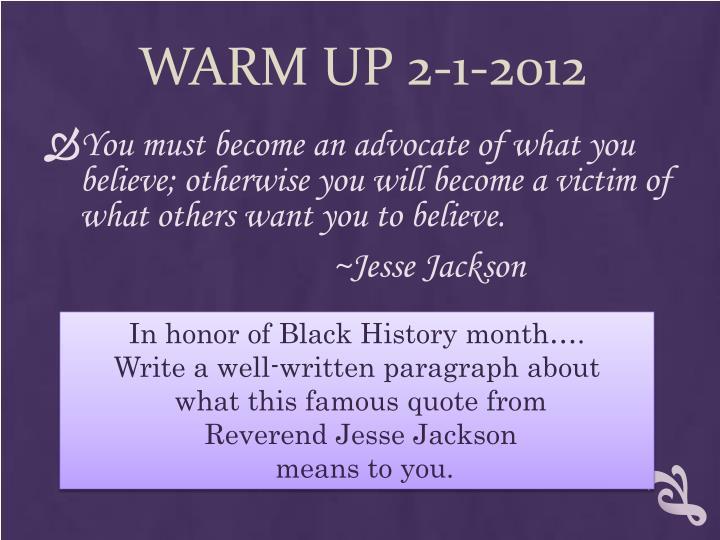 Warm up 2 1 2012