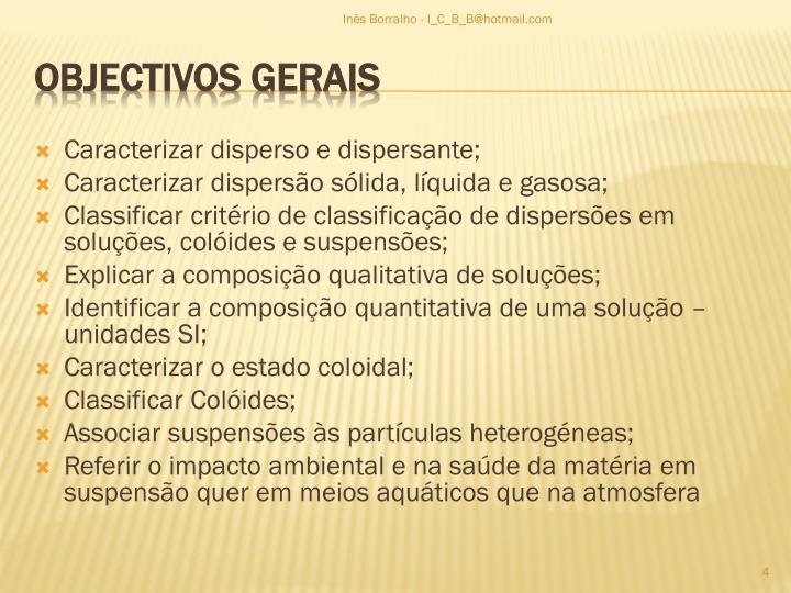 Caracterizar disperso e dispersante;