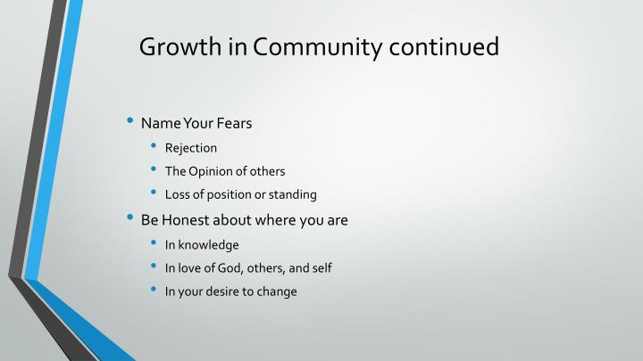 Growth in Community continued