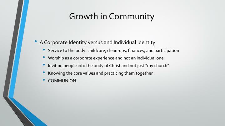 Growth in Community