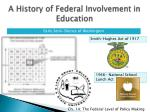 a history of federal involvement in education