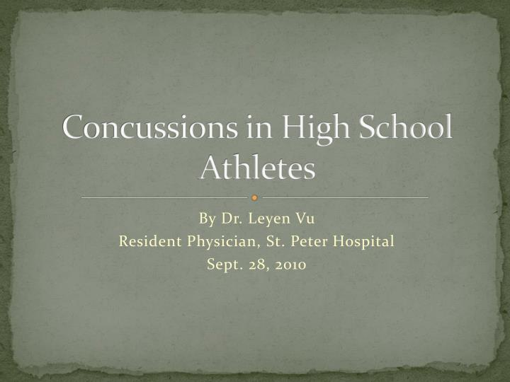 Concussions in high school athletes