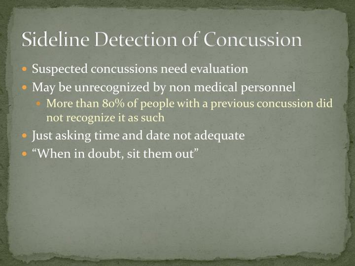 Sideline Detection of Concussion