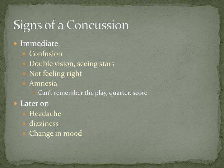 Signs of a Concussion